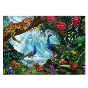 Leopard Peacock 5D DIY Partial Drill Diamond Painting Craft Kit Home Decor