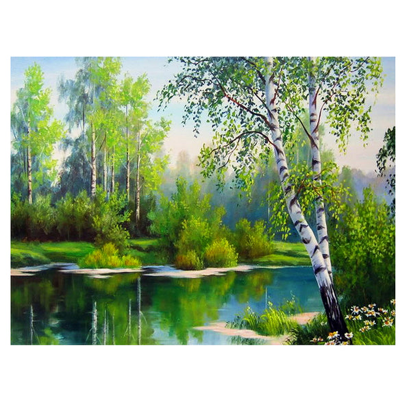 Spring Scenery DIY Partial Drill Round Drill Diamond Painting