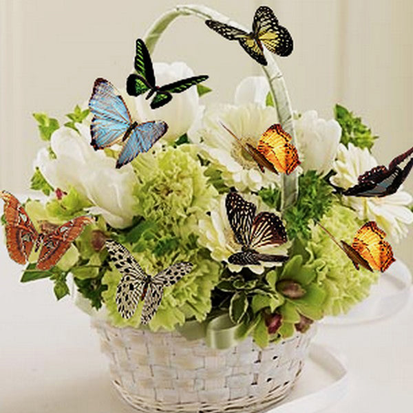 Butterfly Flower Basket DIY Partial Drill Round Drill Diamond Painting