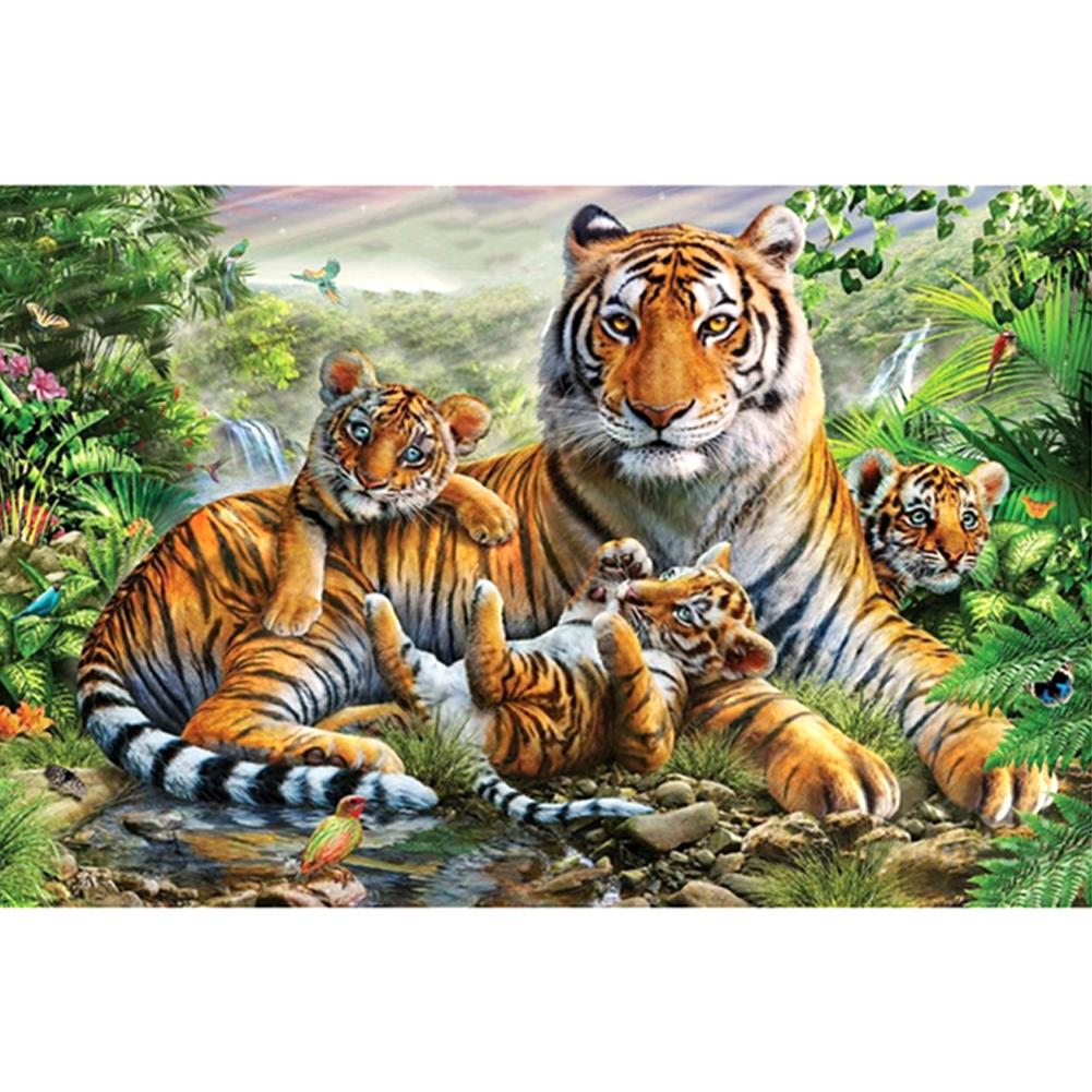Tigers DIY Partial Drill Round Drill Diamond Painting