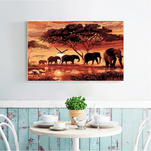 Elephant 5D DIY Partial Drill Round Drill Diamond Painting