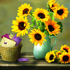 Sunflower Vase DIY Partial Drill Round Drill Diamond Painting