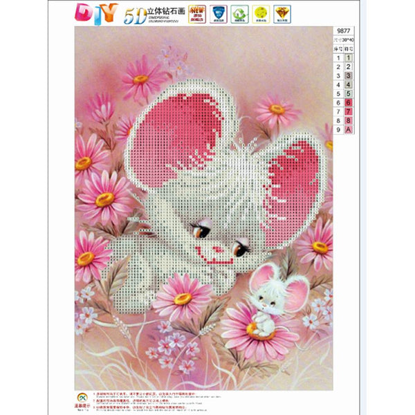 Flower Mouse 5D DIY Partial Drill Round Drill Diamond Painting Craft