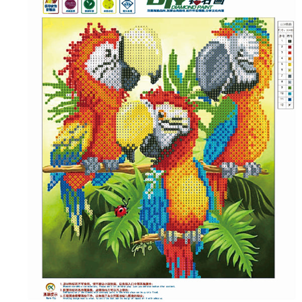 Parrot DIY 5D Partial Drill Round Drill Diamond Painting