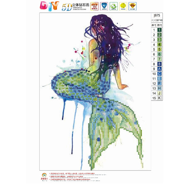 Mermaid DIY Partial Drill Round Drill Diamond Painting