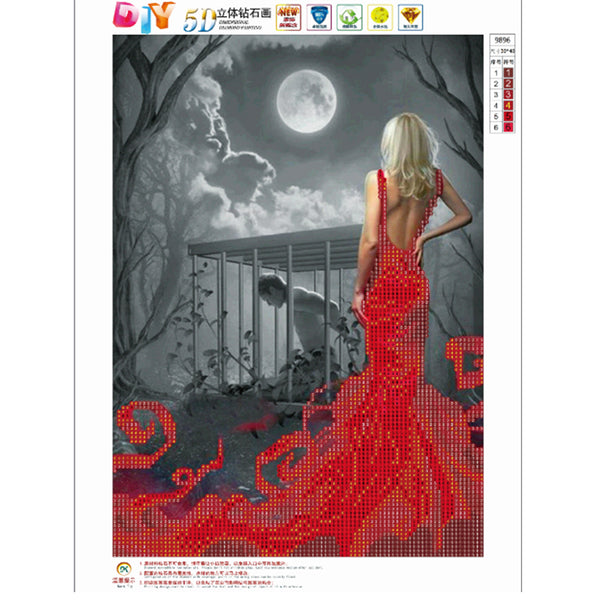 Beauty in Red Dress DIY 5D Partial Drill Round Drill Diamond Painting