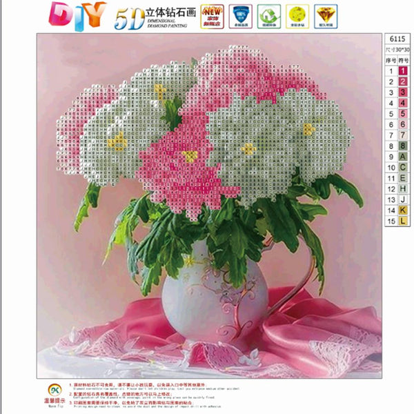Flower 5D Partial Drill Diamond Painting DIY Home Decor Craft Cross Stitch Kit