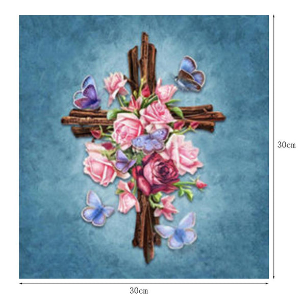 Flower Cross 5D DIY Partial Drill Round Drill Diamond Painting