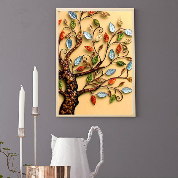 Leaves Tree 5D Partial Drill Round Drill Diamond Painting