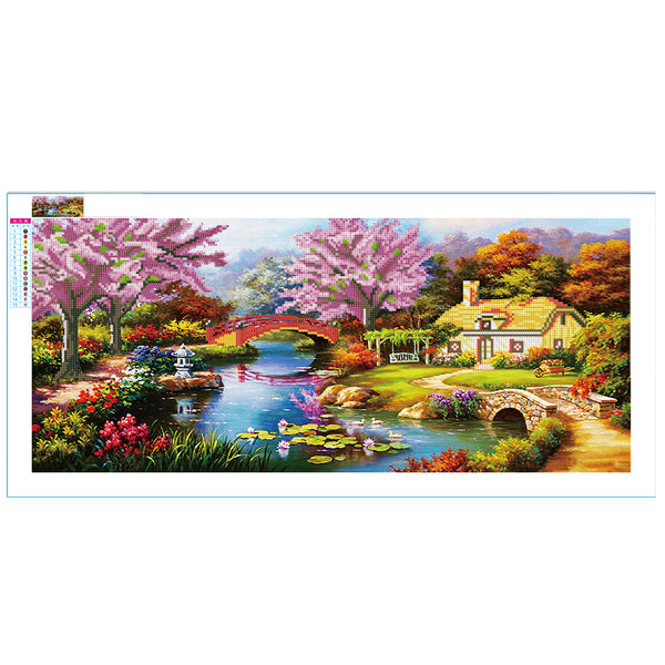 Dream Home Landscape DIY Partial Round Drill Diamond Painting(38x80cm)