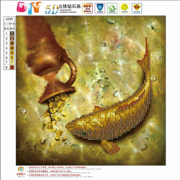 DIY 5D Partial Drill Diamond Painting Fish Cross Stitch Craft Home Decor Kit