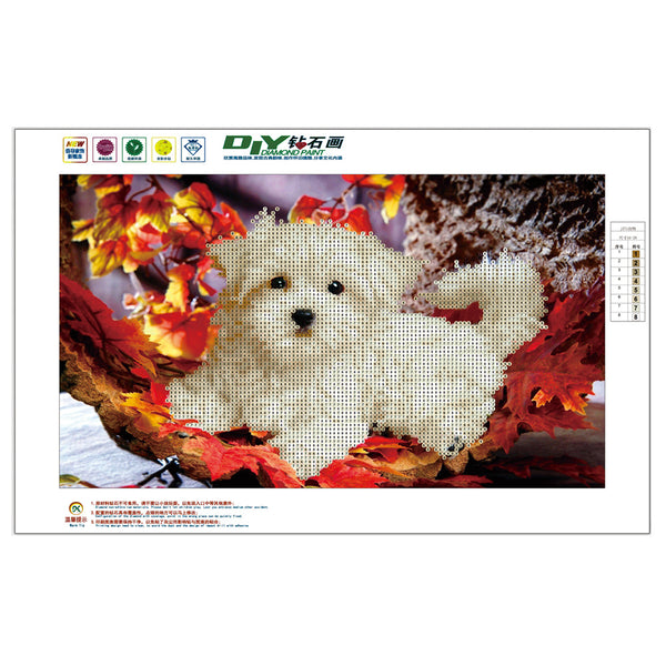 Dog DIY Partial Drill Round Drill Diamond Painting