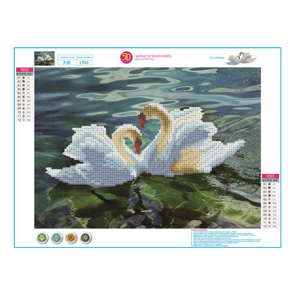 Swan DIY Partial Drill Round Drill Diamond Painting