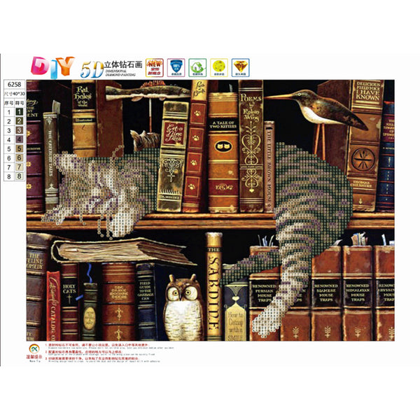 Cat Books 5D DIY Partial Drill Round Drill Diamond Painting