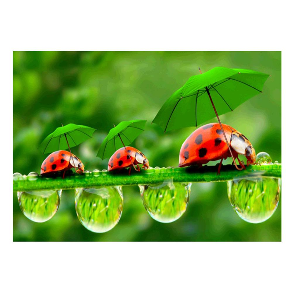 Green Leaf Ladybug 5D DIY Partial Drill Round Drill Diamond Painting
