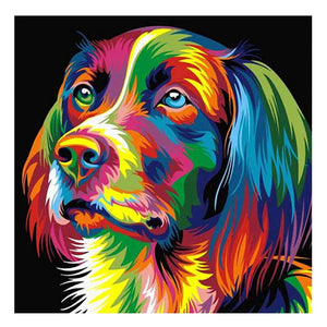 Colorful Dog DIY Partial Drill Round Drill Diamond Painting