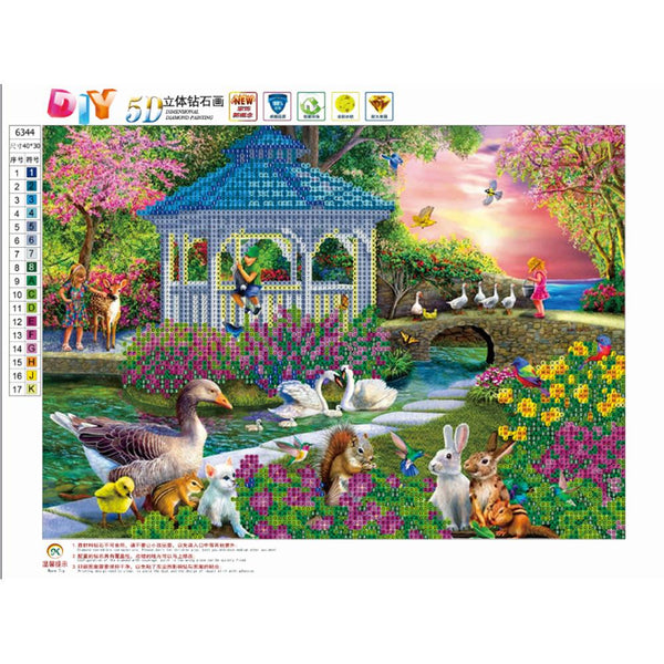 Garden Landscape 5D DIY Partial Drill Round Drill Diamond Painting