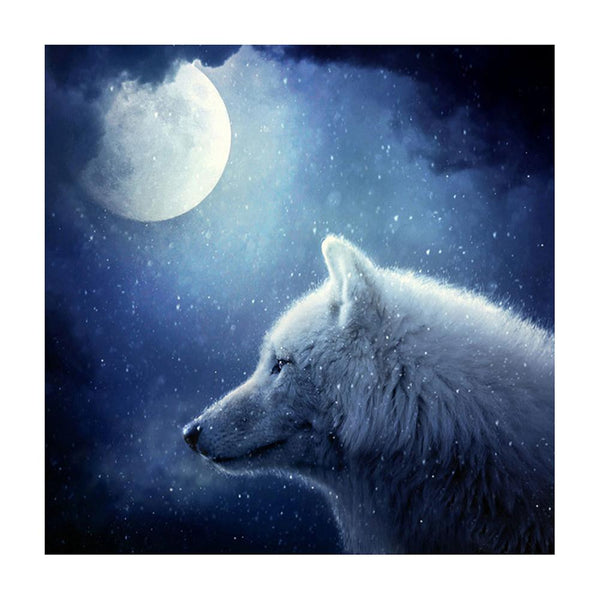 Moonlight Wolf 5D Partial Drill Diamond Painting DIY Cross Stitch Home Decor
