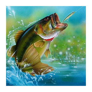 Fishing 5D Partial Drill Diamond Painting DIY Craft Cross Stitch Home Decor