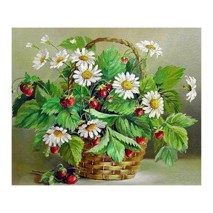 Strawberry Flowers 5D DIY Partial Round Drill Diamond Painting