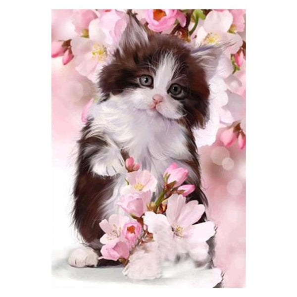 Flower Cat DIY Partial Drill Round Drill Diamond Painting