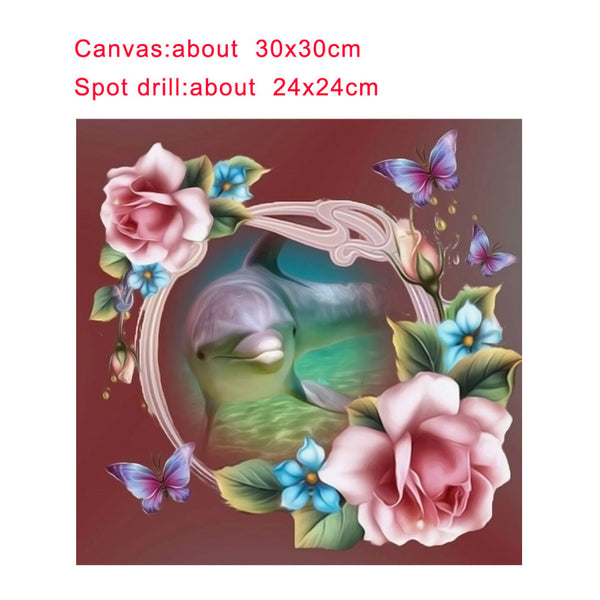 Dolphin 5D DIY Partial Drill Round Drill Diamond Painting