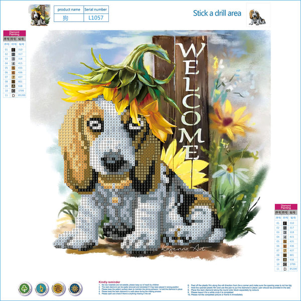 Cute Dog 5D DIY Partial Drill Round Drill Diamond Painting