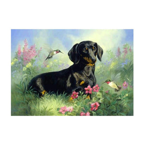 Black Dog 5D DIY Partial Drill Round Drill Diamond Painting