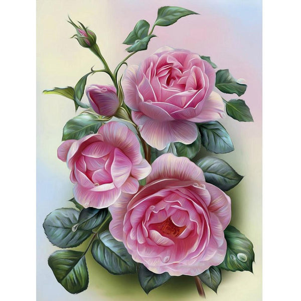 Pink Rose 5D DIY Partial Drill Round Drill Diamond Painting