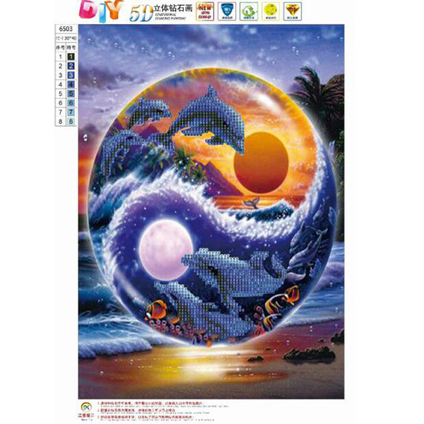 Dolphins DIY Partial Drill Round Drill Diamond Painting