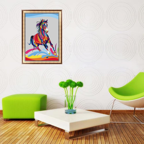 Colorful Horse 5D DIY Partial Drill Round Drill Diamond Painting