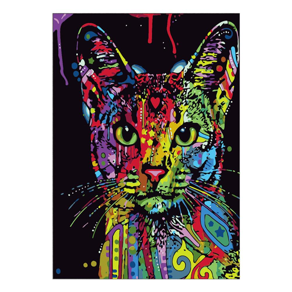Colorful Cat 5D DIY Partial Drill Round Drill Diamond Painting
