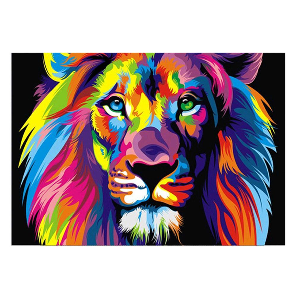 Colorful Lion 5D DIY Partial Drill Round Drill Diamond Painting