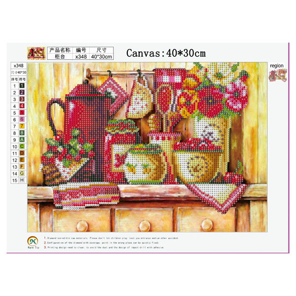 Kitchen Counter 5D DIY Partial Drill Round Drill Diamond Painting