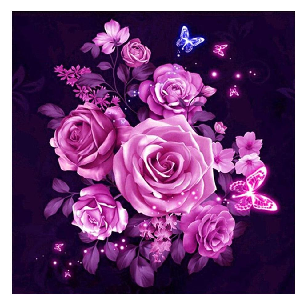 Pink Flower DIY Partial Drill Round Drill Diamond Painting