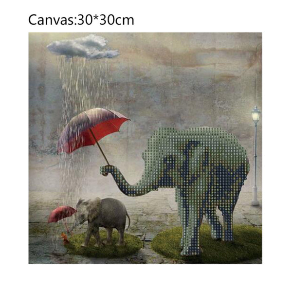 Elephant DIY Partial Drill Round Drill Diamond Painting