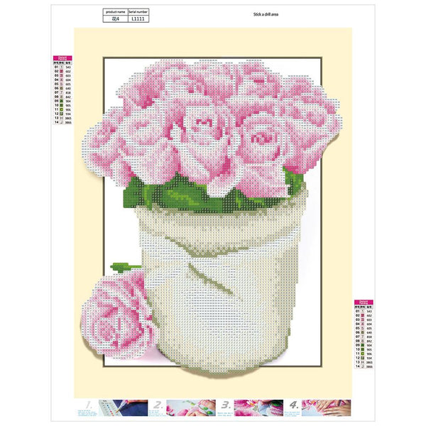 Pink Rose Flowers DIY Partial Drill Round Drill Diamond Painting