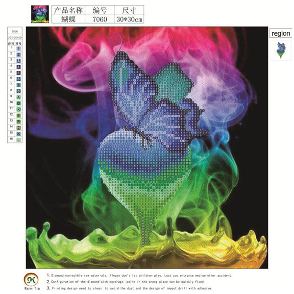 Colorful Butterfly DIY Partial Drill Round Drill Diamond Painting