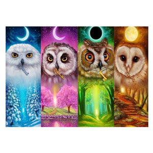 Four Colors Owls 5D DIY Partial Drill Round Drill Diamond Painting