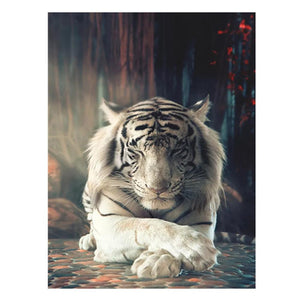 White Tiger 5D DIY Partial Drill Round Drill Diamond Painting