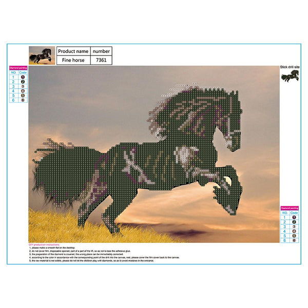 Running Horse 5D DIY Partial Drill Round Drill Diamond Painting