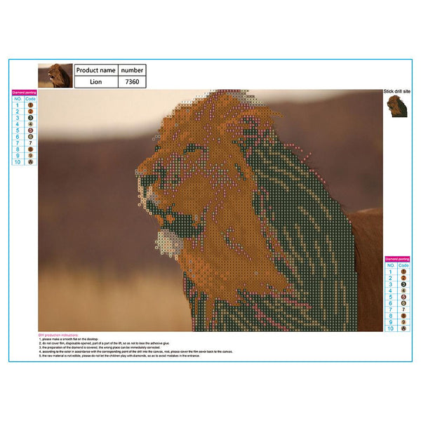 Lion 5D DIY Partial Drill Round Rhinestones Diamond Painting Embroidery Kits Needlework