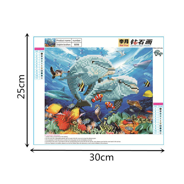 Dolphins 5D DIY Partial Drill Round Drill Diamond Painting