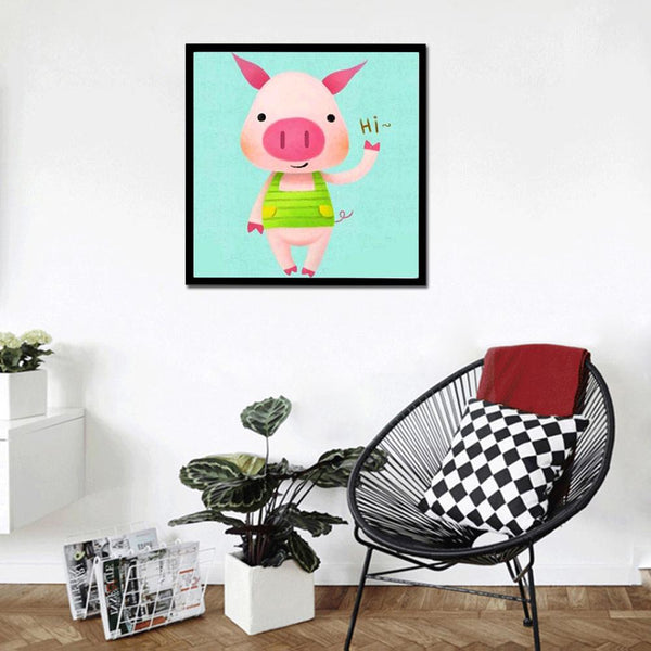 Pink Pig DIY 5D Partial Drill Diamond Painting Cross Stitch Mosaic Kit Home Decor
