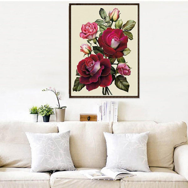 Red Flower 5D DIY Partial Drill Diamond Painting Craft Home Decor