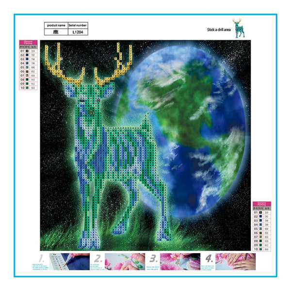 Deer 5D DIY Partial Drill Round Drill Diamond Painting
