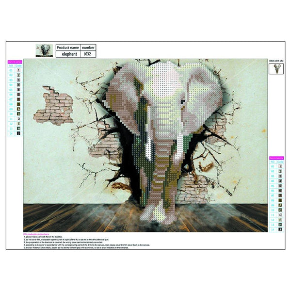 Elephant 5D DIY Round Drill Partial Drill Diamond Painting