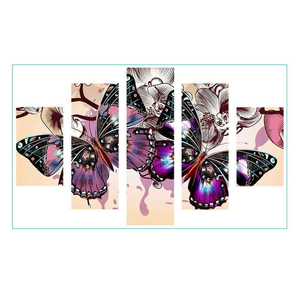 5 pcs-in one Combination 5D DIY Full Drill Diamond Painting Colorful Butterfly(95x45cm)