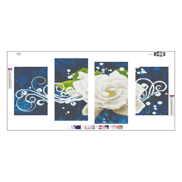 4 pcs-in One Combination 5D DIY Full Drill Diamond Painting White Rose(95x45cm)