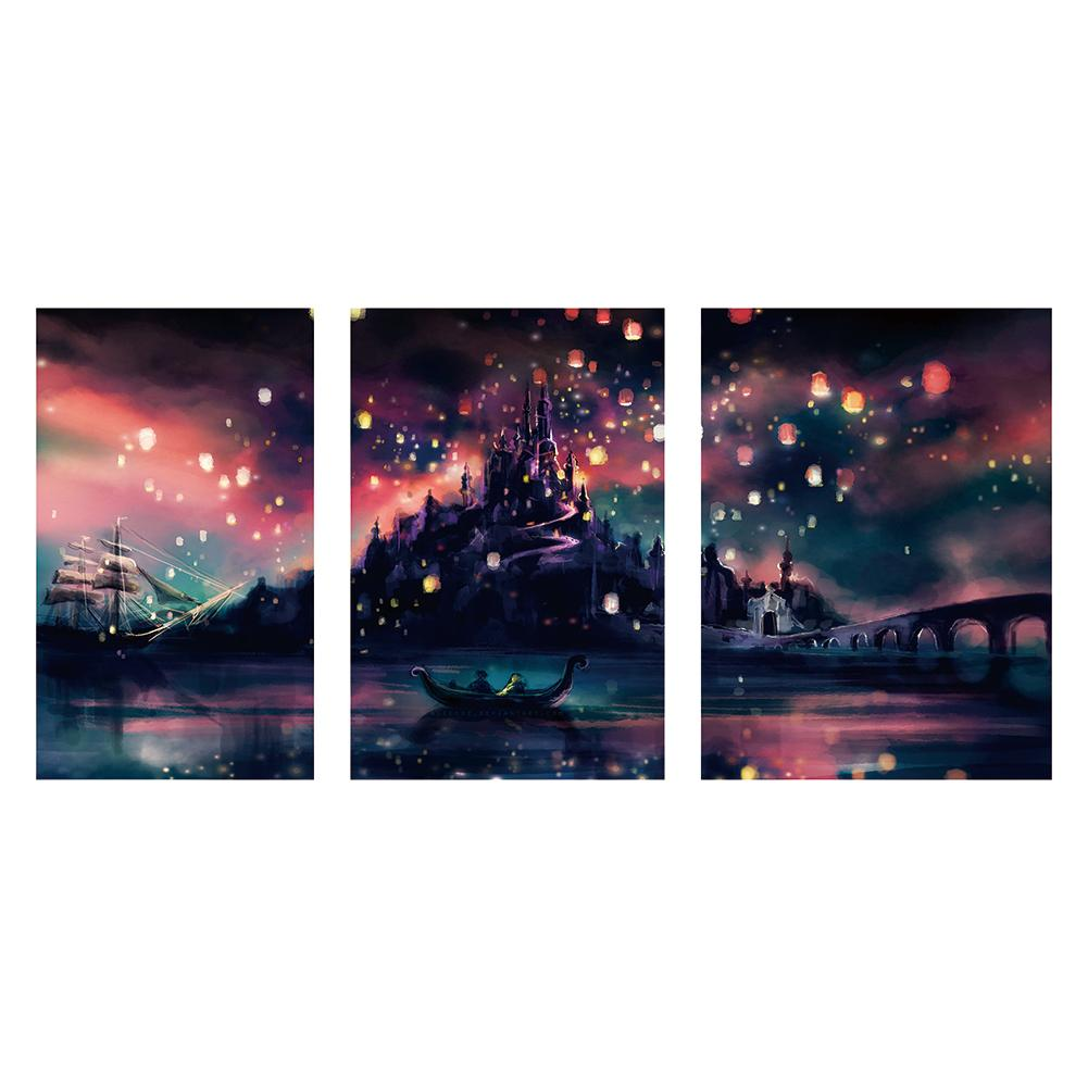 3 pcs-in One Combination DIY Full Drill Round Drill Diamond Painting Night Castle(90x45cm)